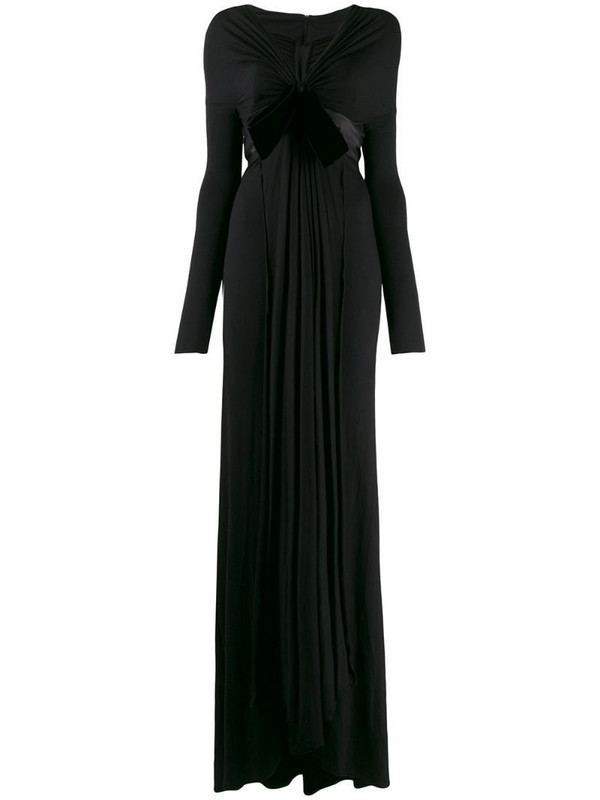 Gianfranco Ferré Pre-Owned 1990's bow detail gathered gown in black