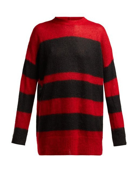 No. 21 - Striped Mohair Blend Oversized Sweater - Womens - Black Red
