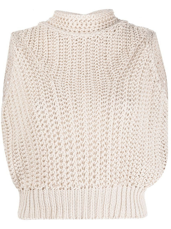 Forte Forte chunky knit cropped top in neutrals