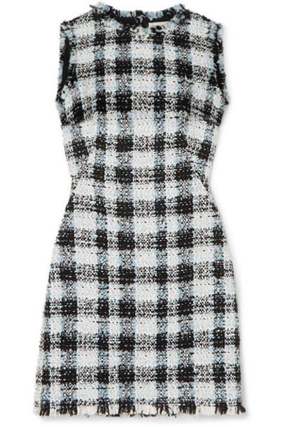 Alexander McQueen - Checked Bouclé-tweed Mini Dress - Blue