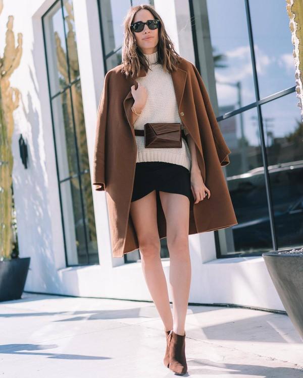 skirt black skirt mini skirt wrap skirt ankle boots oversized coat white sweater turtleneck sweater belt bag