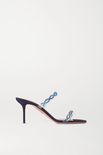 AQUAZZURA - Heaven 75 Crystal-embellished Pvc And Suede Mules - Blue
