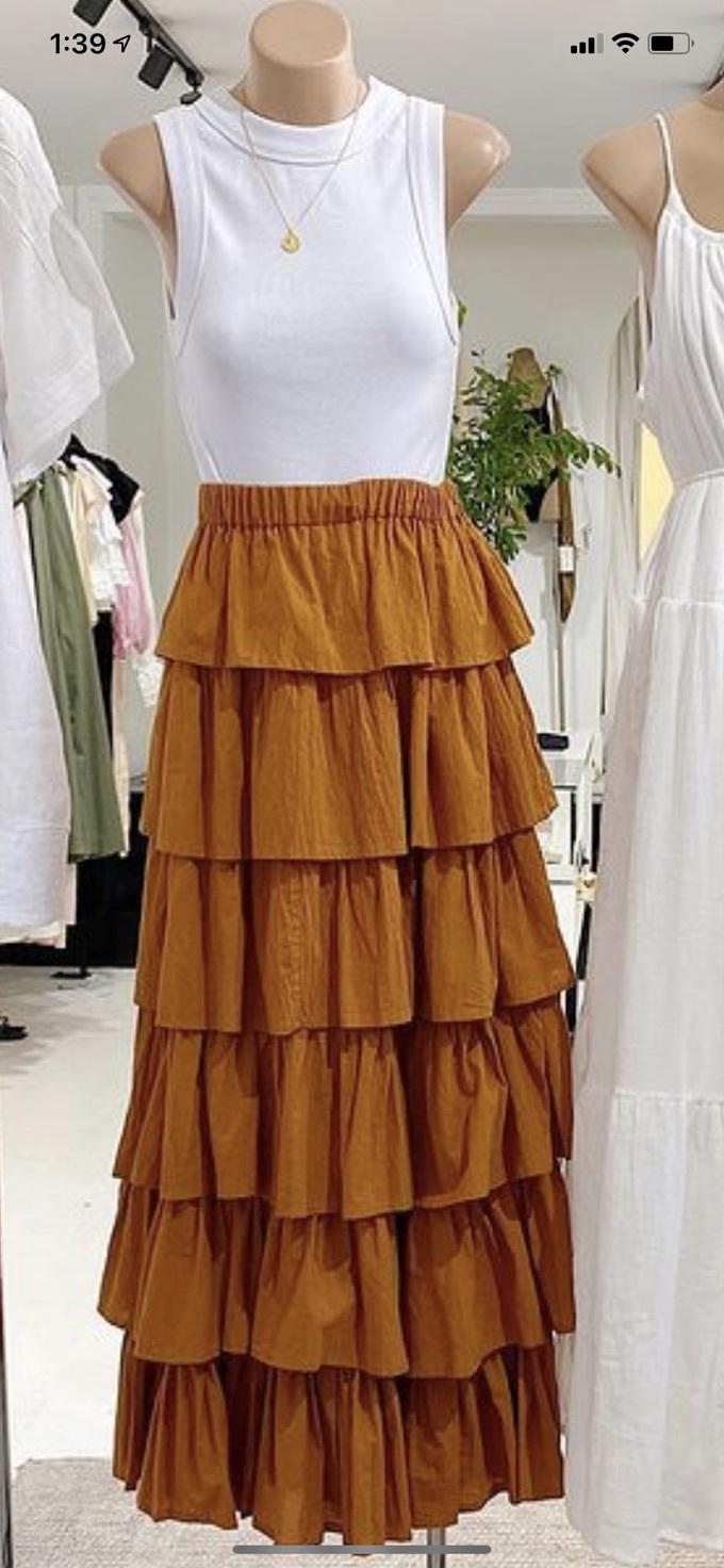 skirt rust ruffle midi skirt layered orange long