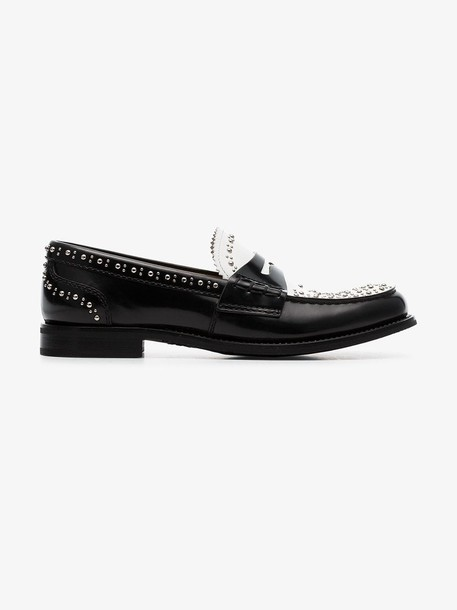 Church's white and black Pembrey studded loafers