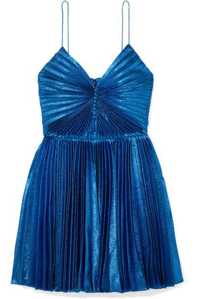 SAINT LAURENT - Pleated Silk-blend Lamé Mini Dress - Blue