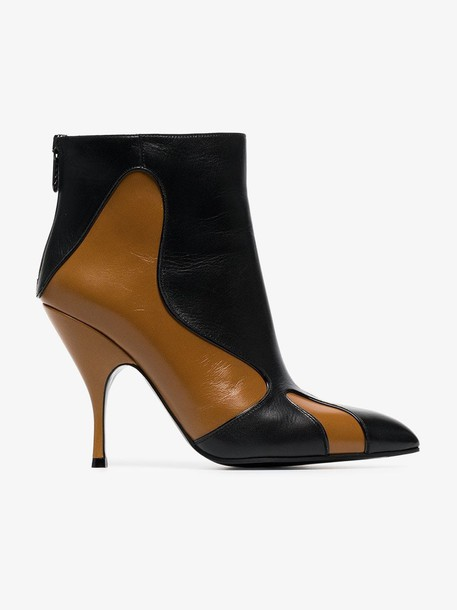 Bottega Veneta brown and black curl 100 leather boots