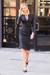 shoes,spring outfits,spring dress,midi dress,black dress,karlie kloss,celebrity,pumps