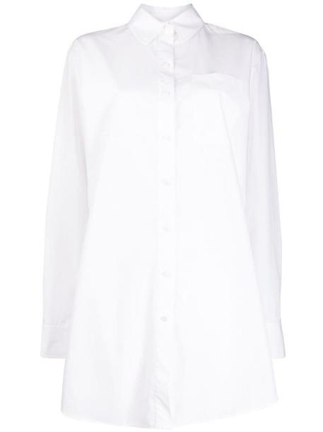 Karl Lagerfeld embellished logo shirt in white