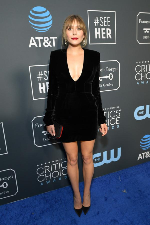 dress black dress mini dress velvet velvet dress long sleeves elizabeth olsen plunge dress
