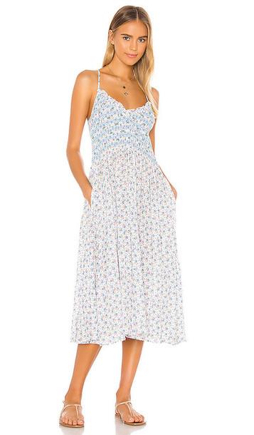 LoveShackFancy Canyon Dress in White in blue