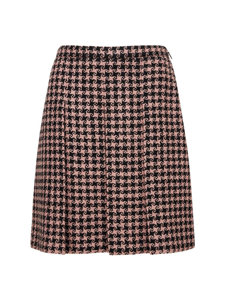 GUCCI Wool Houndstooth Pleated Skirt in black / pink