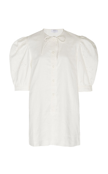 Sir The Label Alena Balloon Sleeve Linen Mini Dress in white