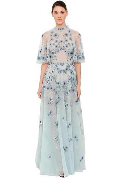 ZUHAIR MURAD Embellished Silk Blend Chiffon Dress in blue