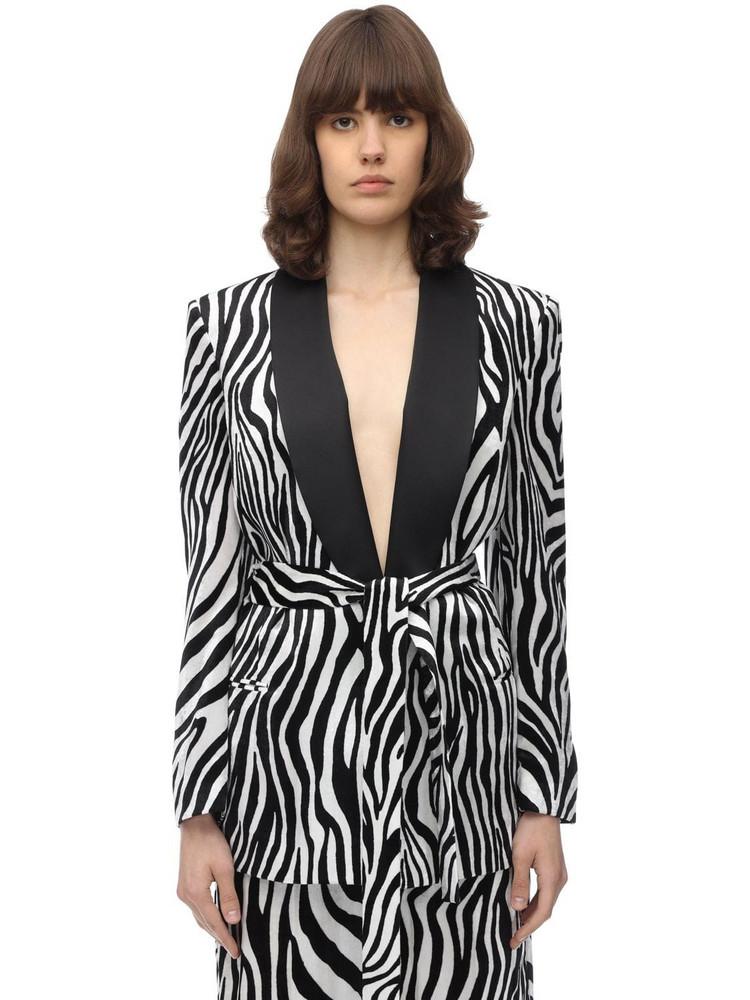 SARA BATTAGLIA Zebra Printed Velvet Blazer in black / white