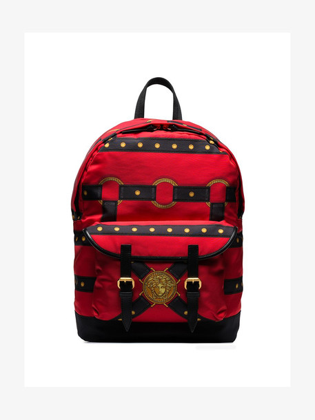 Versace red harness print backpack