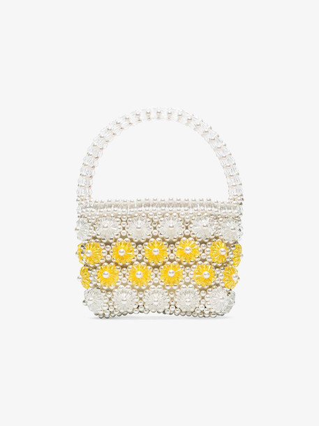 Shrimps White and yellow Shelly beaded bag
