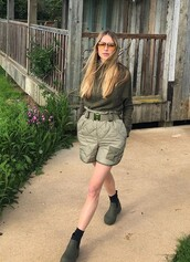 shorts,olive green,khaki,blogger,sweater,sunglasses,pernille teisbaek,instagram,monochrome outfit