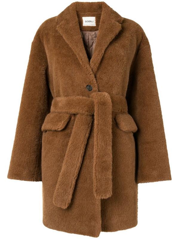 Goen.J single breasted shearling coat in brown