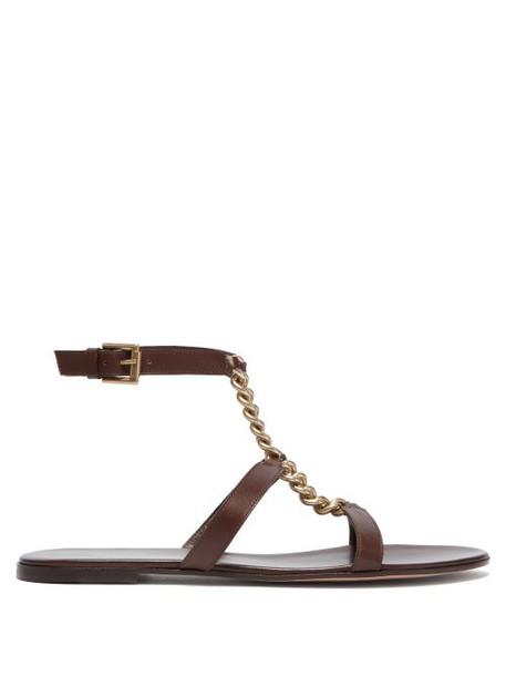 Gianvito Rossi - Chain T Bar Leather Sandals - Womens - Brown Gold