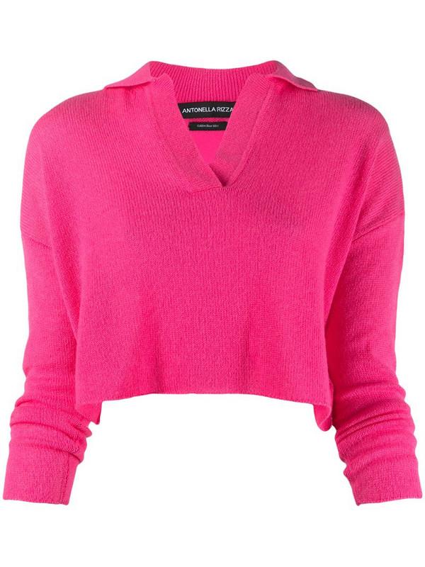 Antonella Rizza cropped cashmere polo jumper in pink