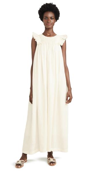 Innika Choo Bib Smock Maxi Dress in white