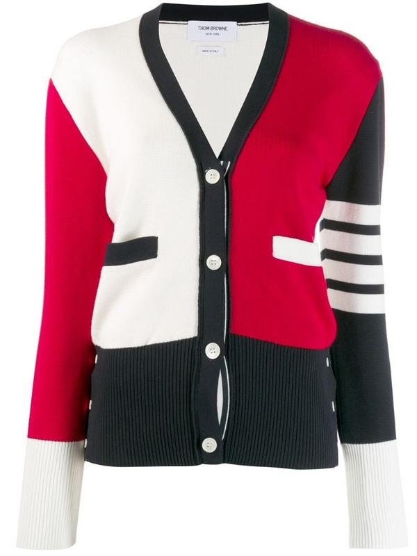 Thom Browne 4-Bar colour-block cardigan in red
