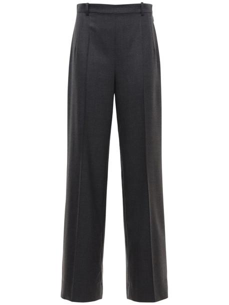 THE ROW High Waist Wool Gabardine Pants in grey