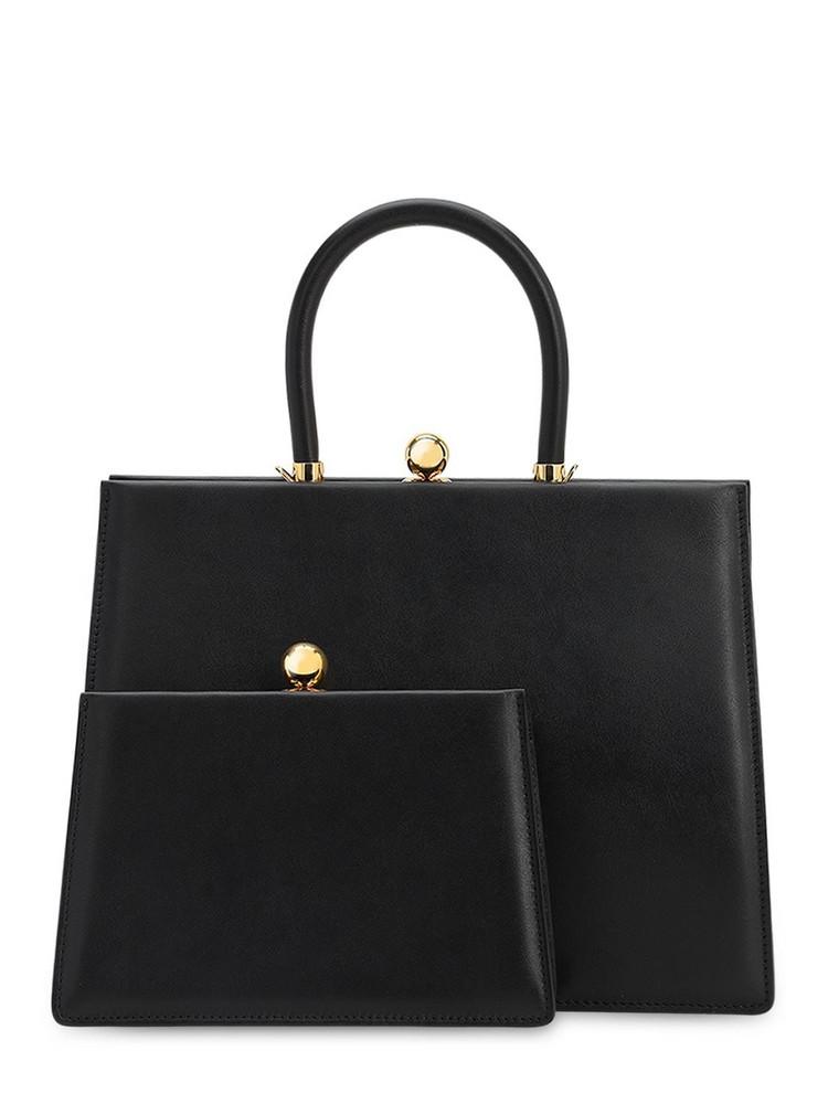 RATIO ET MOTUS Twin Frame Leather Top Handle Bag in black