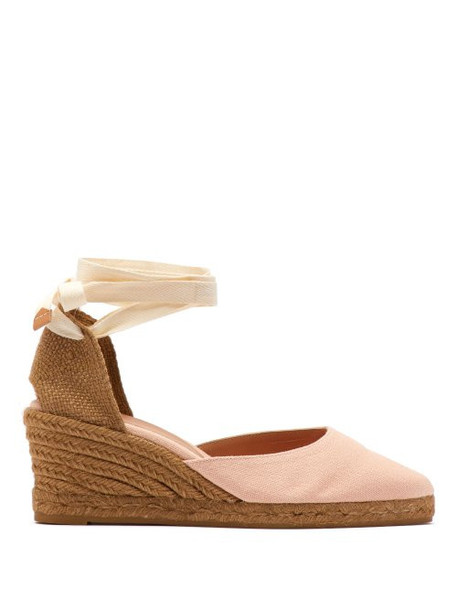 8b861a9ce1c Castañer - Joyce 60 Canvas & Jute Espadrille Wedges - Womens - Light Pink