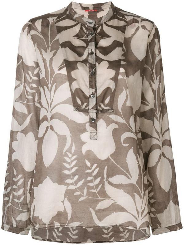 Prada Pre-Owned mandarin-collar floral-print shirt in grey