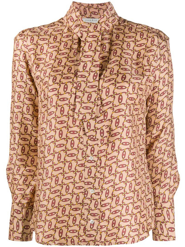 Sandro Paris chain-print pussy bow blouse in neutrals