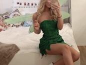 dress,costume,green dress,glitter,fay