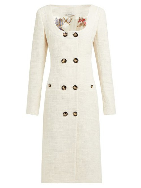Alessandra Rich - Double Breasted Cotton Blend Tweed Midi Dress - Womens - Cream