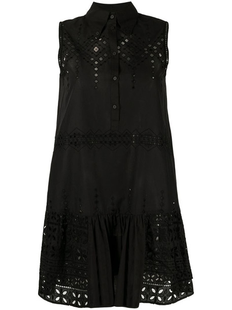 Ermanno Scervino embroidered-detailing sleeveless mini dress in black