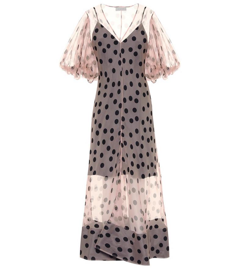 Lee Mathews Rayne polka-dot organza maxi dress in pink
