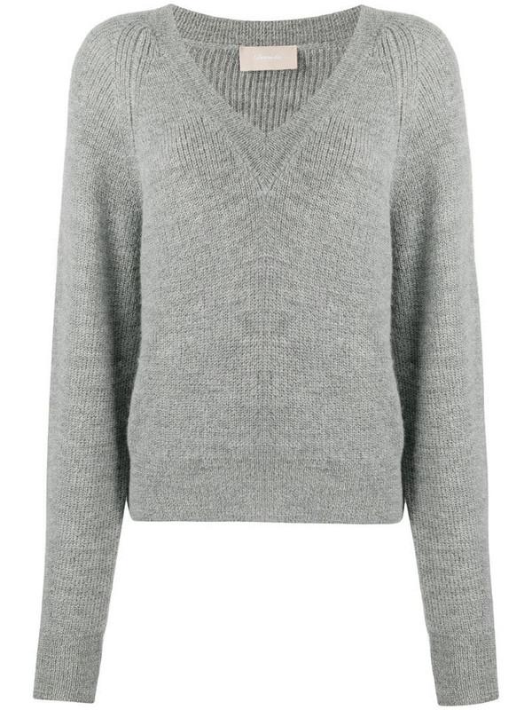 Drumohr purl-knit v-neck jumper in grey
