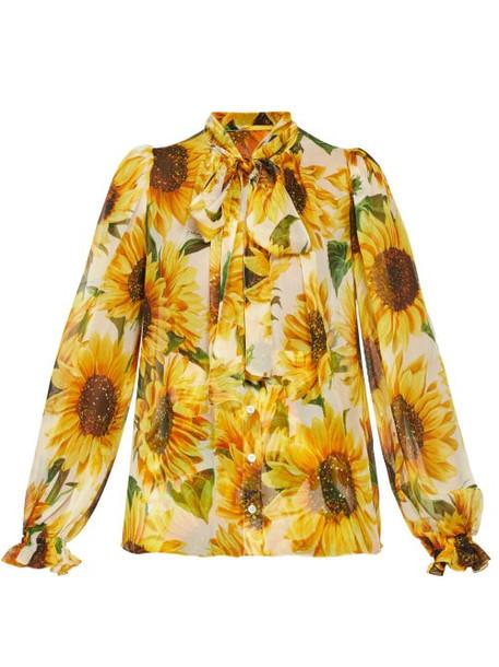 Dolce & Gabbana - Pussy Bow Sunflower Print Chiffon Blouse - Womens - Yellow Multi