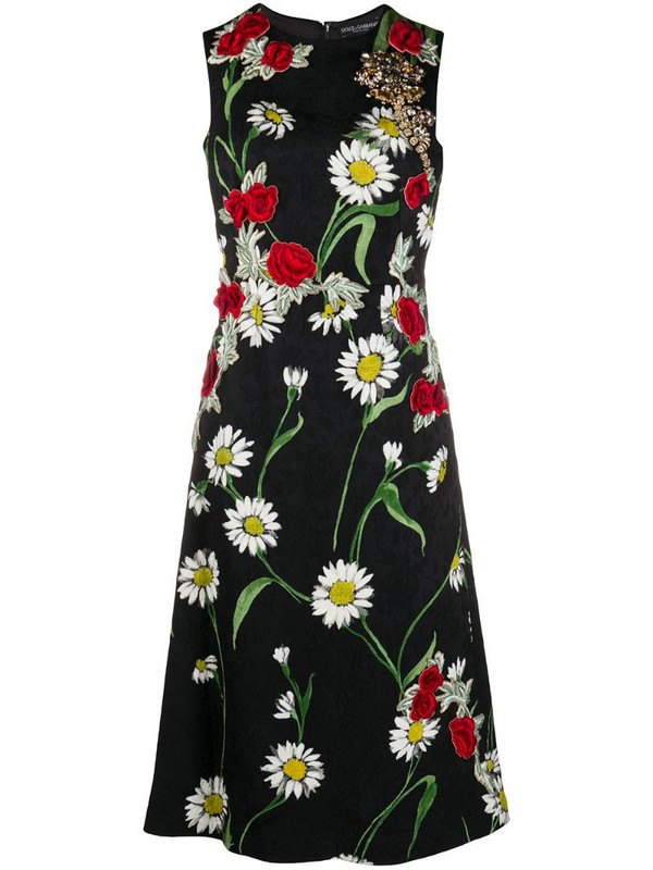 Dolce & Gabbana Pre-Owned floral embroidery flared dress in black