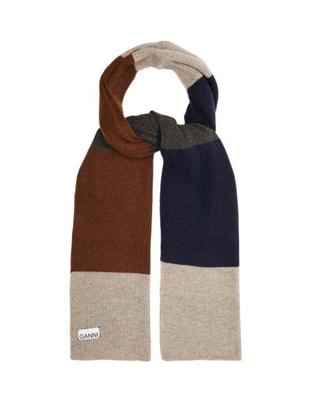 Ganni - Logo Label Colour Blocked Lambswool Blend Scarf - Womens - Brown