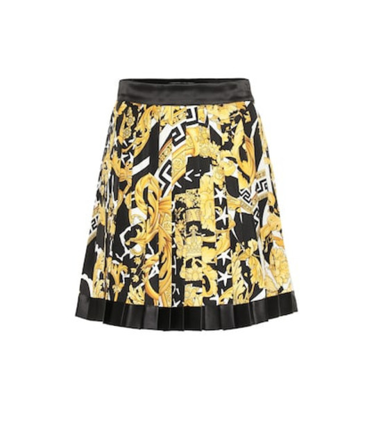 Versace Baroque pleated silk miniskirt