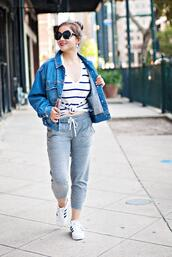 whatever is lovely – a houston life and style blog by lynne gabriel,blogger,jacket,shirt,pants,jewels,sunglasses,shoes,spring outfits,denim jacket,sweatpants,sneakers