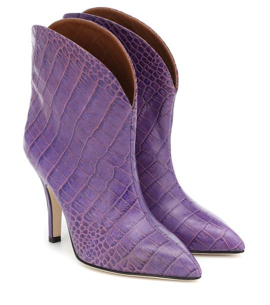 Paris Texas Croc-effect leather ankle boots in purple