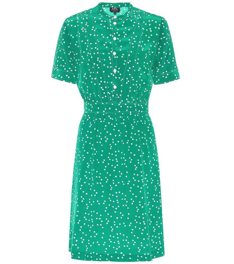 A.P.C. Camille heart-print silk minidress in green