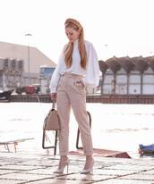 pants,high waisted pants,pumps,shoulder bag,white blouse,turtleneck,asos,headband
