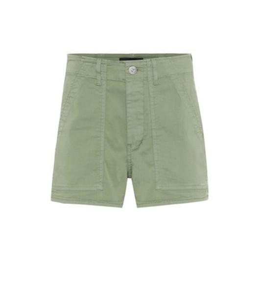 3x1 Simone cotton high-rise shorts in green