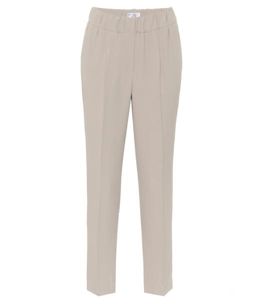 Brunello Cucinelli High-rise slim pants in brown