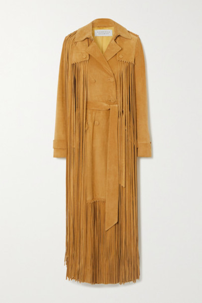 Gabriela Hearst - Cattell Fringed Suede Trench Coat - Tan