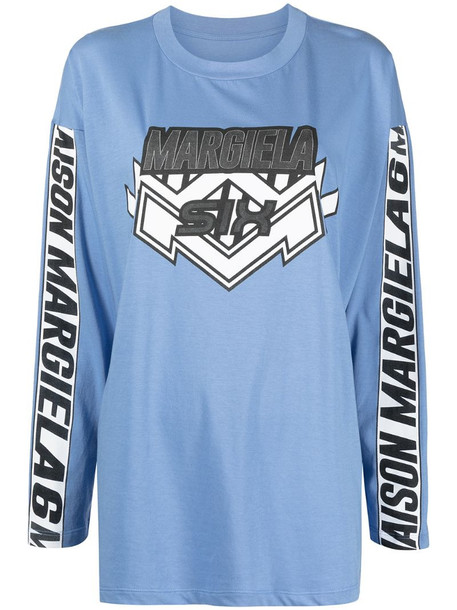 MM6 Maison Margiela graphic-print long-sleeve top in blue