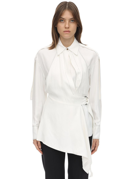 PROENZA SCHOULER Oversize Viscose Blend Gabardine Shirt in white