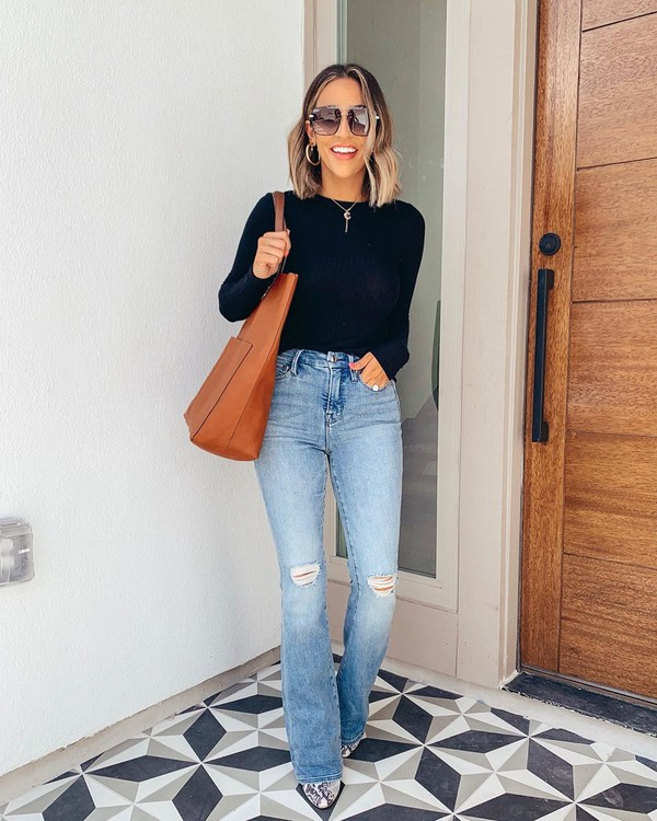 jeans flare jeans high waisted jeans snake print boots brown bag black sweater